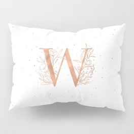 Letter W Rose Gold Monogram / Initial Botanical Illustration Pillow Sham