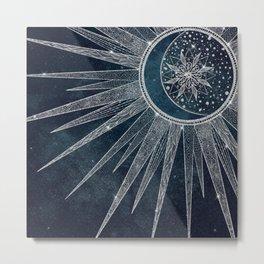 Elegant Silver Sun Moon Doodle Mandala Blue Design Metal Print