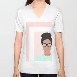 Chanelle wears glasses Unisex V-Neck