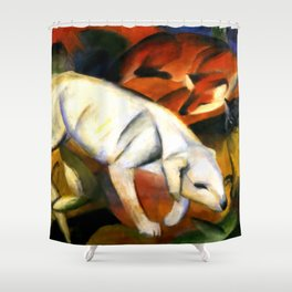 "Franz Marc ""Three animals (dog, fox and cat)"" Shower Curtain"