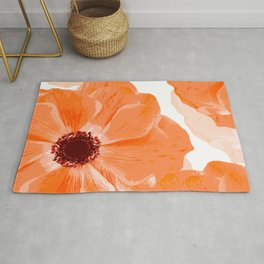 Beautiful Coral Color Flowers White Background #decor #society6 #buyart Rug