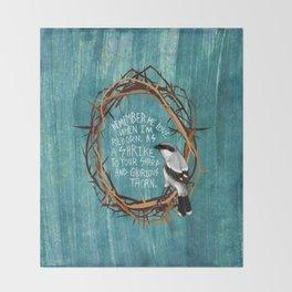 shrike with thorns Throw Blanket