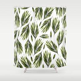 Olive green leaf twig Shower Curtain