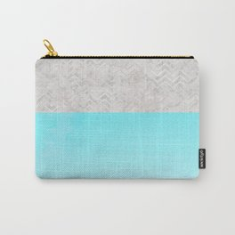 Painted Marble - Gray Aqua Silver Carry-All Pouch