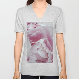 Pink Peony Heart - Floral Photography by Fluid Nature Unisex V-Neck