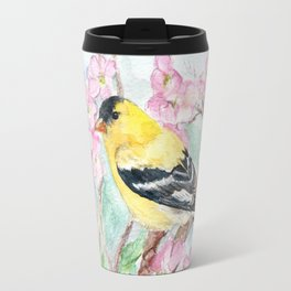 Goldfinch and Dogwood Flowers Travel Mug