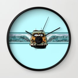 Woody Wave Hawaiian Surf Illustration  Wall Clock