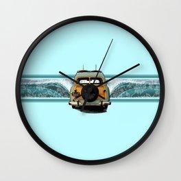 Woody Wave Hawaiian Surf Illustration  Wall Clock