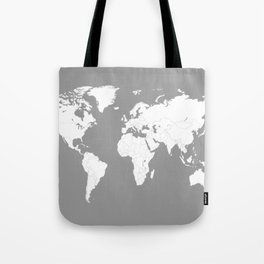 Minimalist World Map in Grey Tote Bag