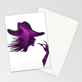 DIVA WITH HAT and Lipstick - PAINTED - Gorgeous VIOLET Stationery Cards