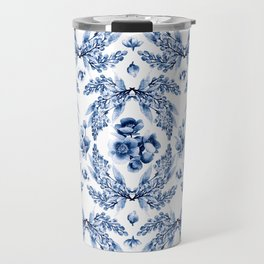Florals blue & white pattern with beetles Travel Mug