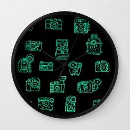 Cameras: Teal - pop art illustration Wall Clock