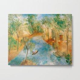 Idyllic Paradise, Two Streams Converging )Río Bravo del Norte) landscape painting by O. Sachoroff Metal Print