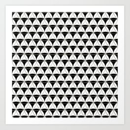 Cone Pattern Black-White Art Print