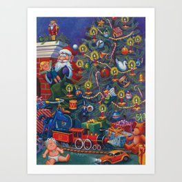 Santa Putting Presents Under The Tree Art Print