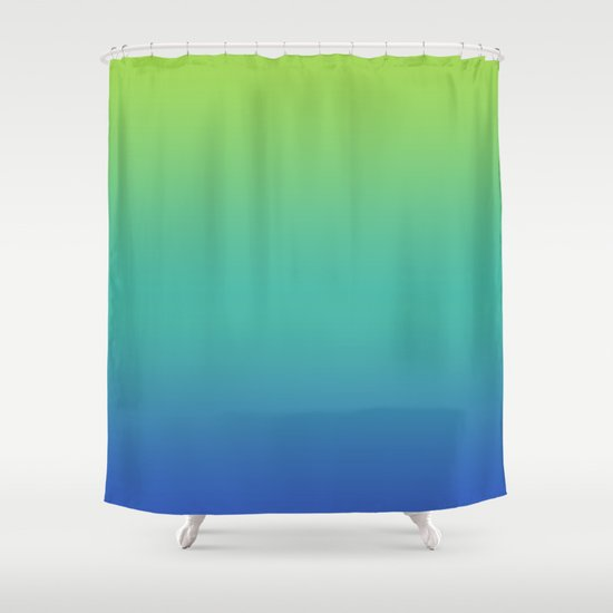 Green Teal Blue Fade Shower Curtain By N A T Society6
