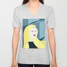 Euphoria Jaune Blonde Woman Hair Abstract Portrait Unisex V-Neck