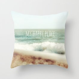 Beach - My Happy Place Throw Pillow