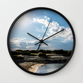 Torre Pozzelle beach and its bay at sunset in Ostuni Salento Italy Wall Clock