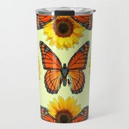 Teal & Orange Monarch Butterflies  Sunflower Patterns Art Travel Mug