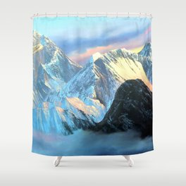 Panoramic Sunrise View Of Everest Mountain Shower Curtain