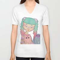 loll3 V-neck T-shirts featuring Cat Lady by lOll3
