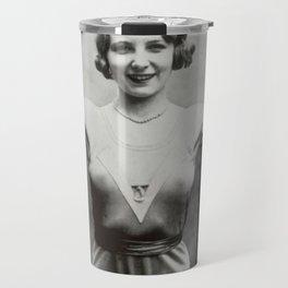 1931 Women's Boxing Champion Elise Conner black and white photograph - black and white photography Travel Mug