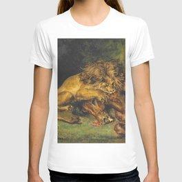 """Eugène Delacroix """"Lion dévorant un cheval"""" T-shirt"""