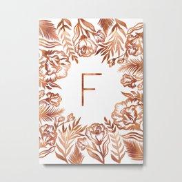 Letter F - Faux Rose Gold Glitter Flowers Metal Print