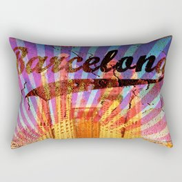 Barcelona vintage poster, metal background Rectangular Pillow
