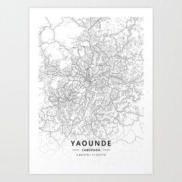 Yaounde, Cameroon - Light Map Art Print