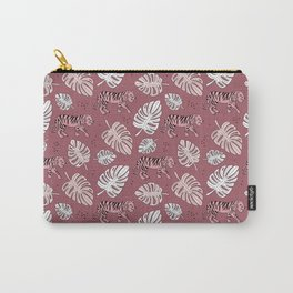 Botanical pink tiger garden with monstera and palm leaves illustrated pattern Carry-All Pouch