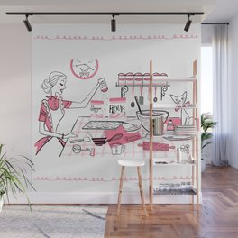 Baking Day Fun With Mister Kitty Wall Mural