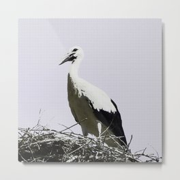 Urban Pop Art Stork Metal Print