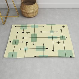 Rounded Rectangles Squares Mint Green Rug