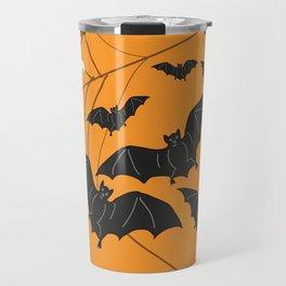 Flying Ghosts & Bats Halloween orange Travel Mug
