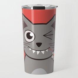 Winking Cartoon Kitty Cat Travel Mug