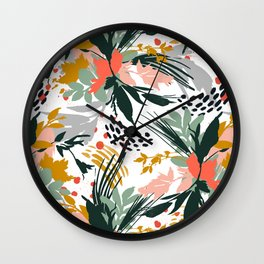 Botanical brush strokes I Wall Clock
