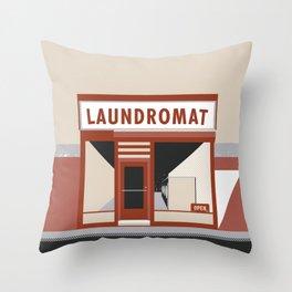 Highway Laundromat Throw Pillow