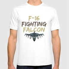 F-16 Fighting Falcon MEDIUM White Mens Fitted Tee
