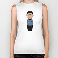spock Biker Tanks featuring Kokeshi Spock by Pendientera