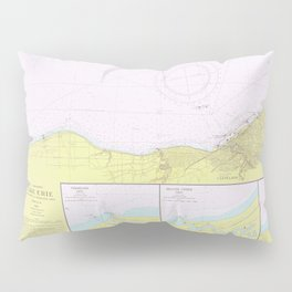 Vintage Lake Erie Coast Map (1965) Pillow Sham
