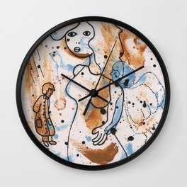 Woman in the rain by Laila Cichos Wall Clock