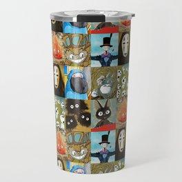 Studio Ghibli Collage - Calcifer, Jiji, Turnip, No Face, Markl, Kodama, Cat Bus & Soot Sprites Travel Mug