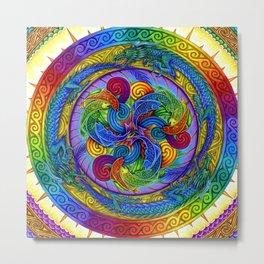 Psychedelic Dragons Rainbow Spirals Mandala Metal Print
