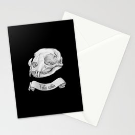 Cat skull in ink Stationery Cards