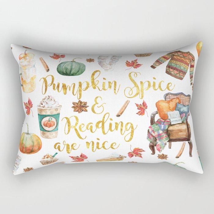 Pumpkin Spice & Reading are Nice Rectangular Pillow