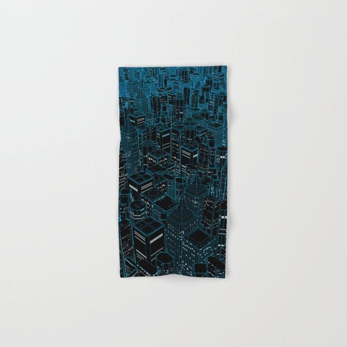 Night light city / Lineart city in blue Hand & Bath Towel