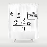 the office Shower Curtains featuring administration office by Lineamentum