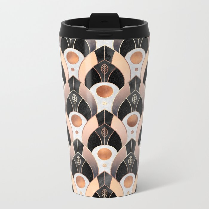 Art Deco Leaves / Version 1 Metal Travel Mug